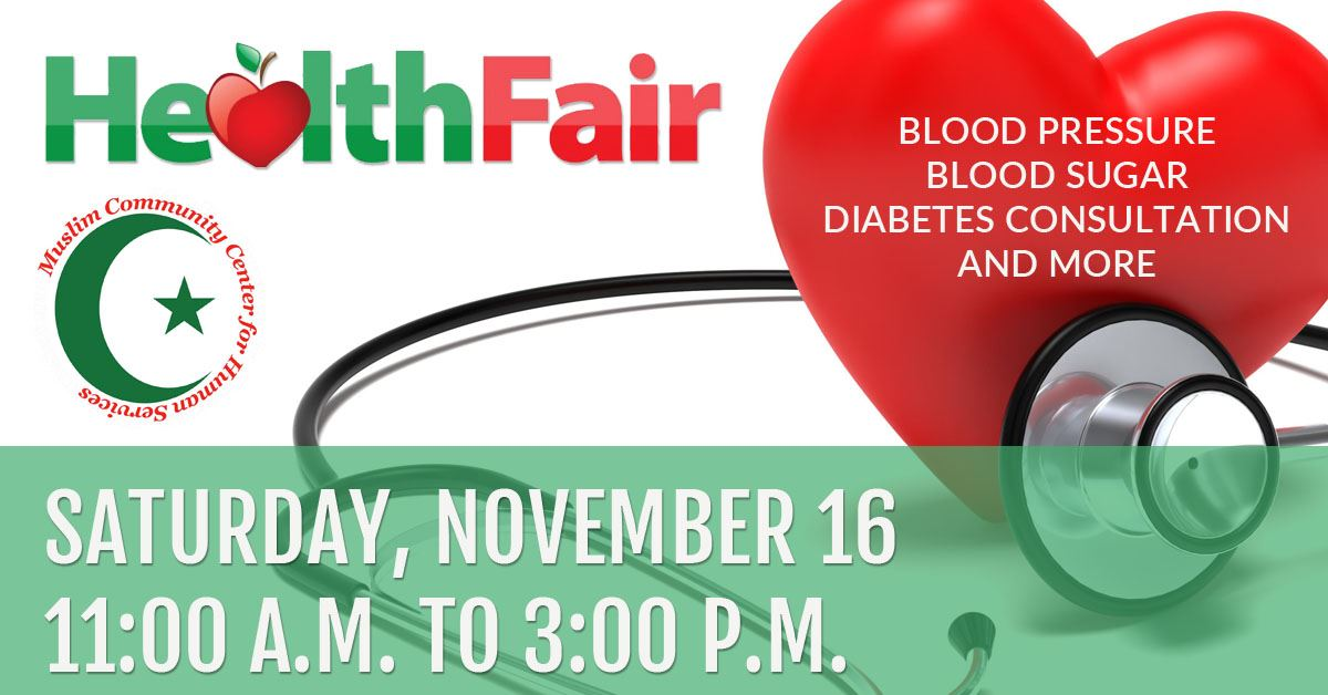 Health Fair Saturday, November 16, from 11:00 a.m. to 3:00 p.m.