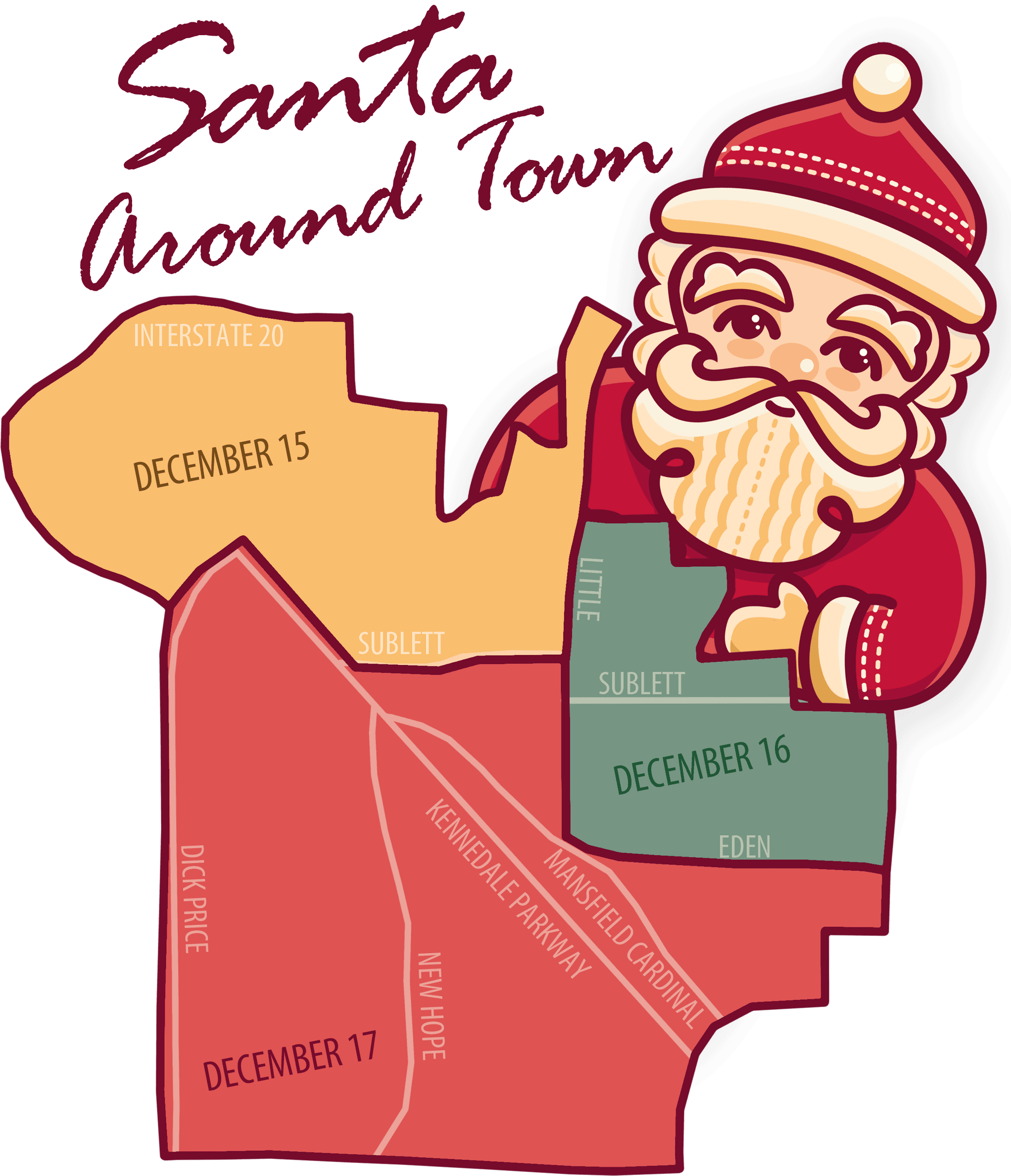 Santa Around Town Map